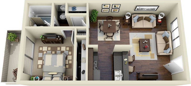 The Ridge / 1 Bedroom / 1 Bath - 728 Sq. Ft.*