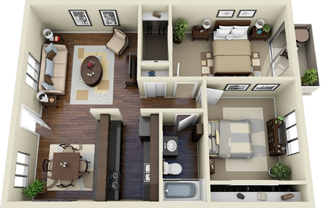 The Terraza - 2 Bedroom / 1 Bath - 1,028 Sq. Ft.*