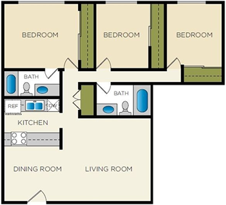 The Pinnacle - 3 Bedroom / 2 Bath - 1,456 Sq.Ft.*